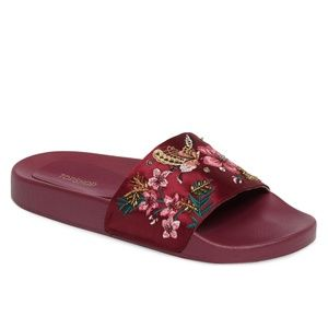 TOPSHOP Hummingbird Embroidered Slide Sandals